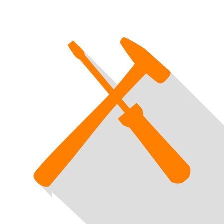 button icons: Tools sign illustration. Orange icon with flat style shadow path.