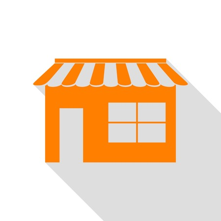 Store sign illustration. Orange icon with flat style shadow path.