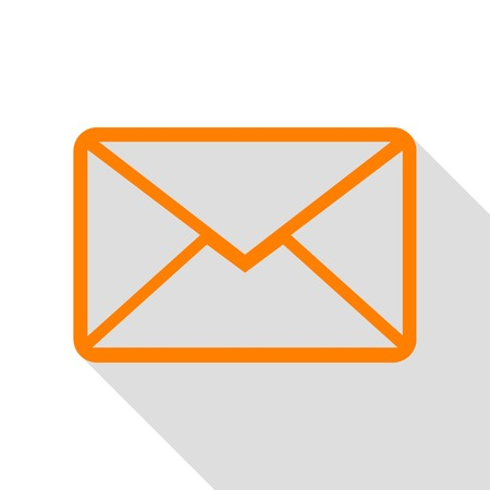 Letter sign illustration. Orange icon with flat style shadow path.