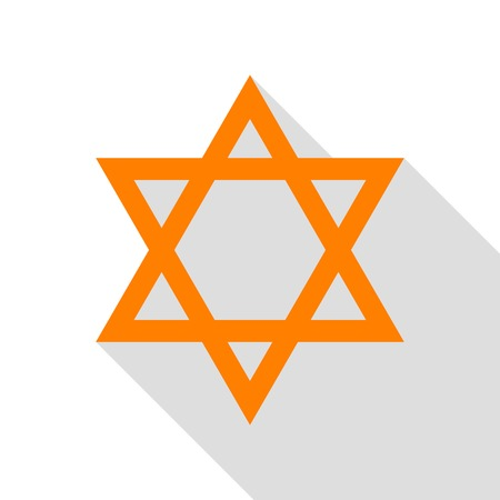 Shield Magen David Star. Symbol of Israel. Orange icon with flat style shadow path. Illustration