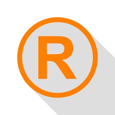 Registered Trademark sign. Orange icon with flat style shadow path.