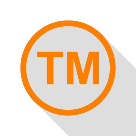 Trade mark sign. Orange icon with flat style shadow path.