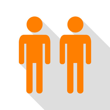 Gay family sign. Orange icon with flat style shadow path. Illustration