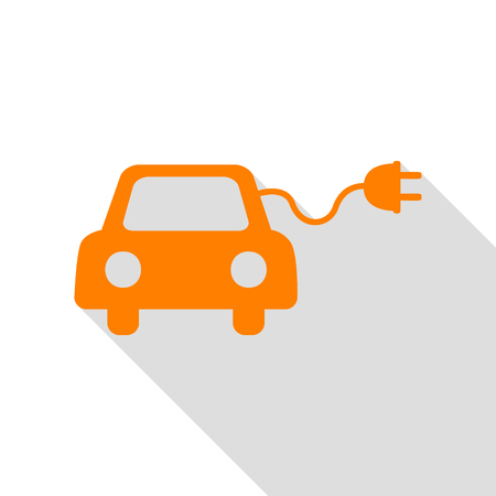 echnology: Eco electric car sign. Orange icon with flat style shadow path.