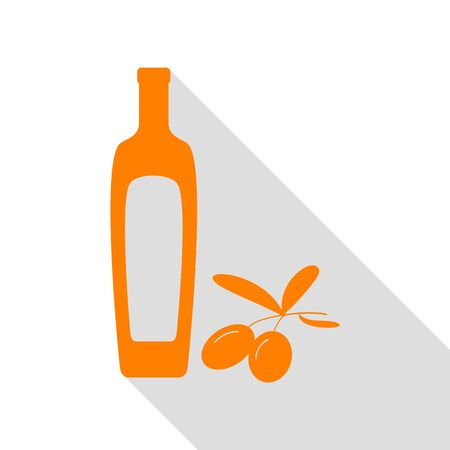 Black olives branch with olive oil bottle sign. Orange icon with flat style shadow path. Illustration