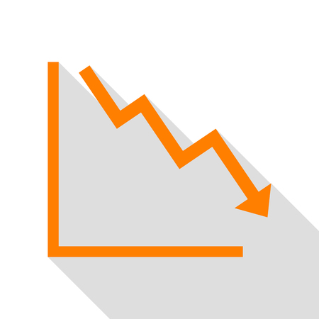 Arrow pointing downwards showing crisis. Orange icon with flat style shadow path.