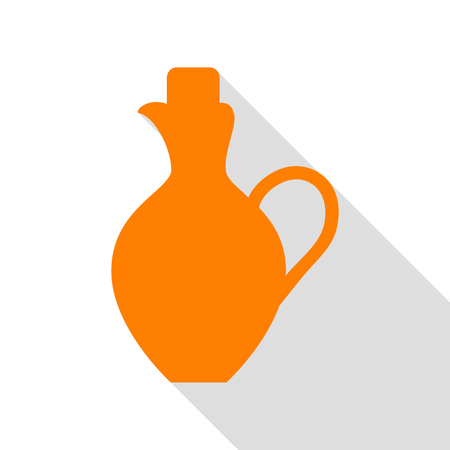 greek pot: Amphora sign illustration. Orange icon with flat style shadow path.
