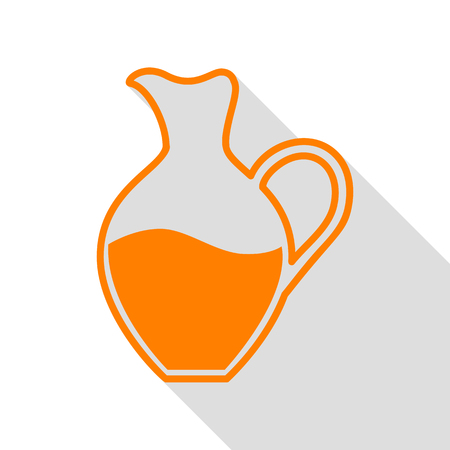 simplified: Amphora sign. Orange icon with flat style shadow path. Illustration