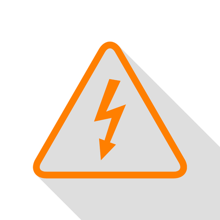 volte: High voltage danger sign. Orange icon with flat style shadow path. Illustration