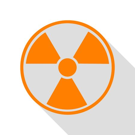 Radiation Round sign. Orange icon with flat style shadow path. Illustration