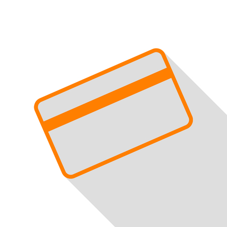 Credit card symbol for download. Orange icon with flat style shadow path.
