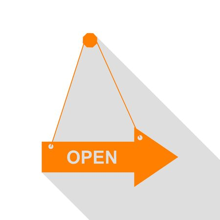 Open sign illustration. Orange icon with flat style shadow path.