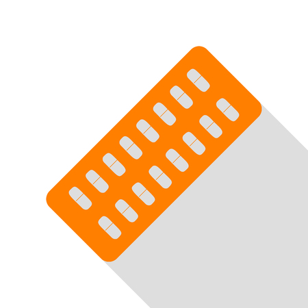 Medical Pills sign. Orange icon with flat style shadow path.