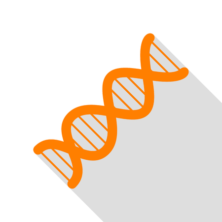 The DNA sign. Orange icon with flat style shadow path.