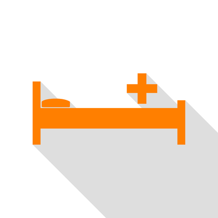 Hospital sign illustration. Orange icon with flat style shadow path. Illustration