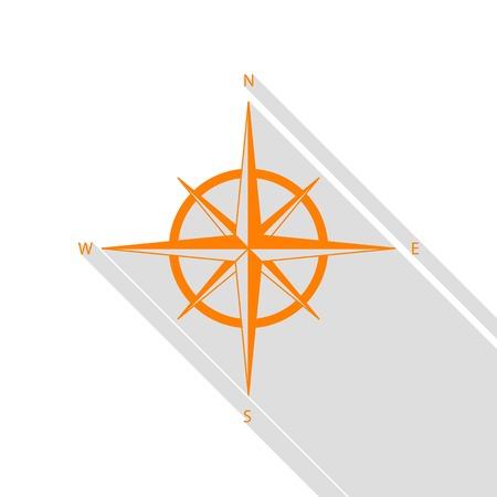 Wind rose sign. Orange icon with flat style shadow path. Illustration