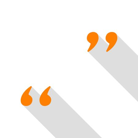 memo: Quote sign illustration. Orange icon with flat style shadow path. Illustration