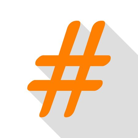 Hashtag sign illustration. Orange icon with flat style shadow path. Illustration