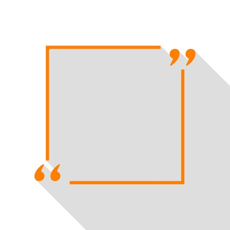 mention: Text quote sign. Orange icon with flat style shadow path.