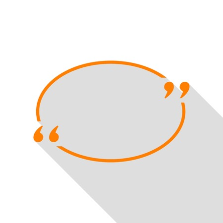 Text quote sign. Orange icon with flat style shadow path.