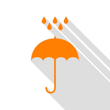 Umbrella with water drops. Rain protection symbol. Flat design style. Orange icon with flat style shadow path.