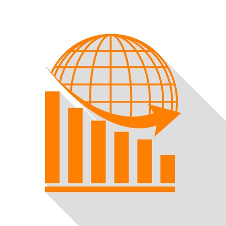 declining: Declining graph with earth. Orange icon with flat style shadow path. Illustration