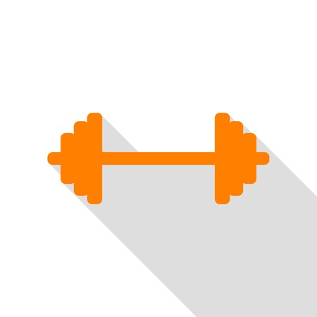 Dumbbell weights sign. Orange icon with flat style shadow path.