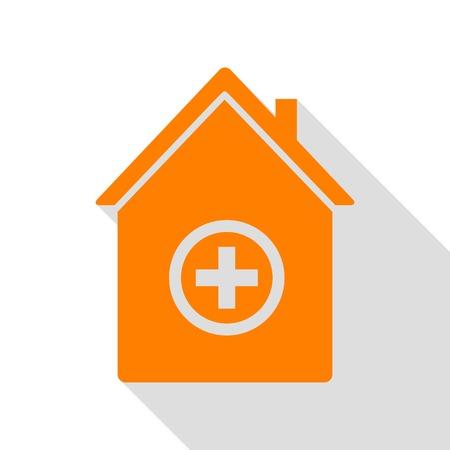 Hospital sign illustration. Orange icon with flat style shadow path. Illustration
