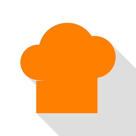 fine cuisine: Chef cap sign. Orange icon with flat style shadow path. Illustration