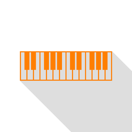 clavier: Piano Keyboard sign. Orange icon with flat style shadow path.