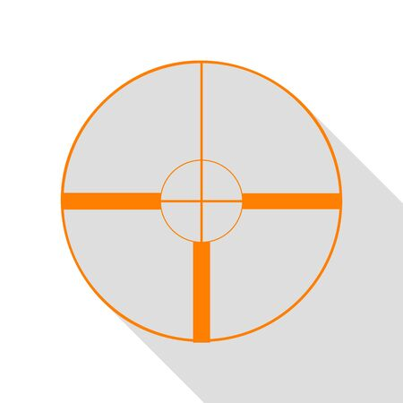 Sight sign illustration. Orange icon with flat style shadow path.