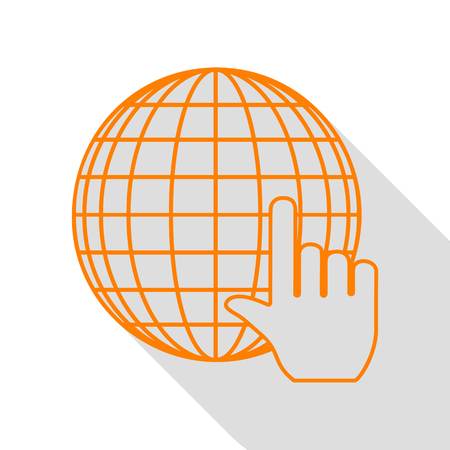 Earth Globe with cursor. Orange icon with flat style shadow path.