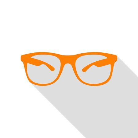 eyewear fashion: Sunglasses sign illustration. Orange icon with flat style shadow path.