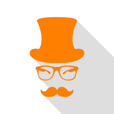 Hipster accessories design. Orange icon with flat style shadow path.