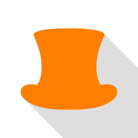 Top hat sign. Orange icon with flat style shadow path.