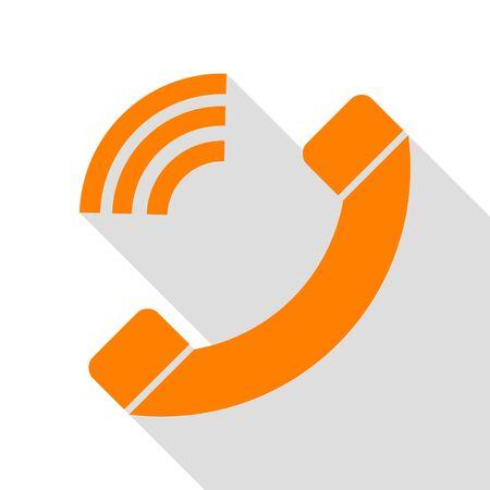 Illustration de signe de téléphone. Icône orange avec chemin d'ombre de style plat.