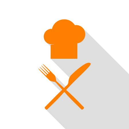 Chef with knife and fork sign. Orange icon with flat style shadow path. Illustration