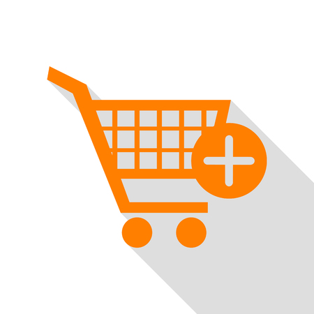 Shopping Cart with add Mark sign. Orange icon with flat style shadow path.