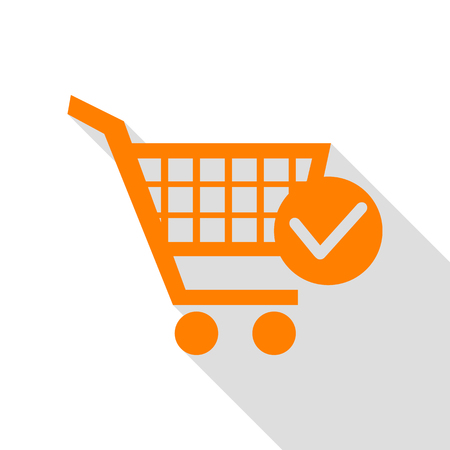 pushcart: Shopping Cart with Check Mark sign. Orange icon with flat style shadow path.