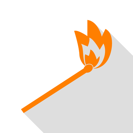Match sign illustration. Orange icon with flat style shadow path.