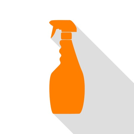 Plastic bottle for cleaning. Orange icon with flat style shadow path.