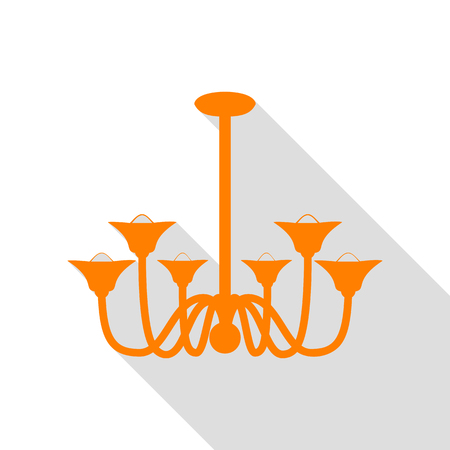 Chandelier simple sign. Orange icon with flat style shadow path. Illustration