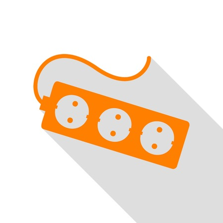 Electric extension plug sign. Orange icon with flat style shadow path. Illustration