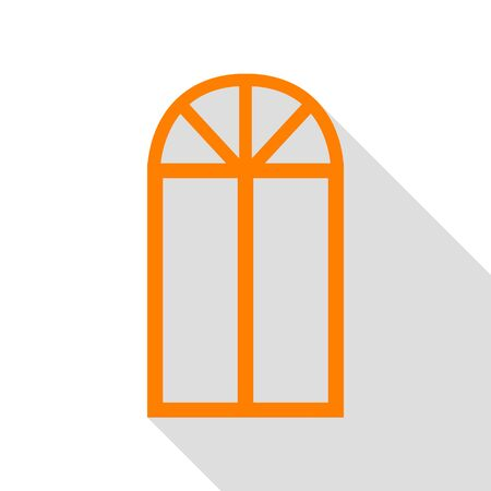 Window simple sign. Orange icon with flat style shadow path.