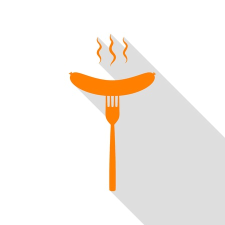 Sausage on fork sign. Orange icon with flat style shadow path. Illustration