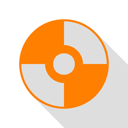 Vector CD or DVD sign. Orange icon with flat style shadow path.