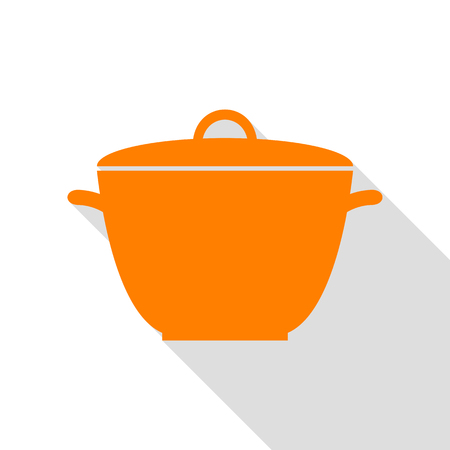 Saucepan simple sign. Orange icon with flat style shadow path.