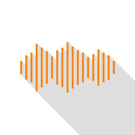 Sound waves icon. Orange icon with flat style shadow path.