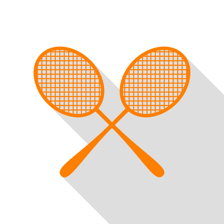 Tennis racquets sign. Orange icon with flat style shadow path. Illustration