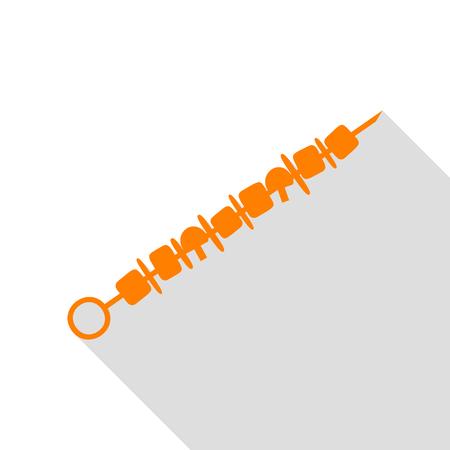 Shish kebab on skewers sign. Orange icon with flat style shadow path.